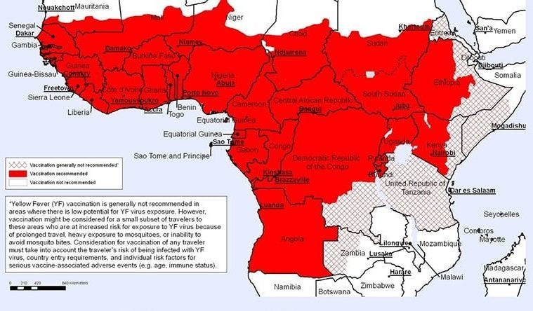 YELLOW FEVER COUNTRIES AT RISK world map upper africa